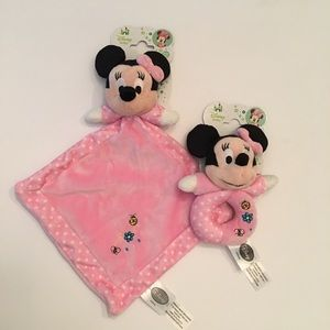 Disney Baby Minnie Mouse Security Blanket & Rattle